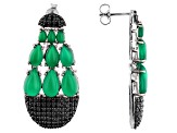 Green onyx rhodium over silver dangle earrings 2.29ctw