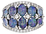 Multi-color Australian Opal Triplet Rhodium Over Silver Ring .76ctw