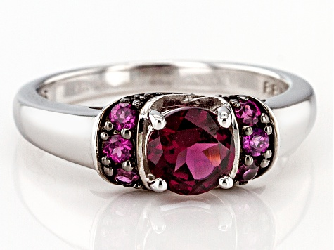 Raspberry color rhodolite rhodium over silver ring 1.25ctw