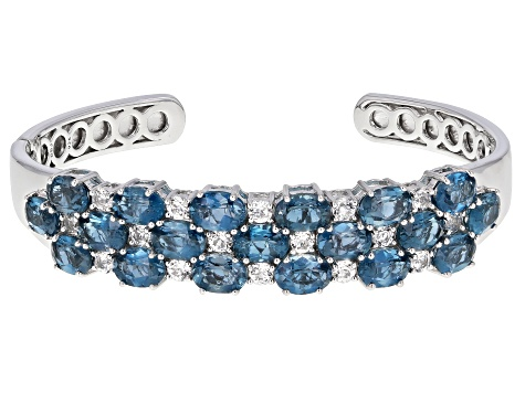 London Blue Topaz Rhodium Over Sterling Silver Cuff Bracelet 16.99ctw