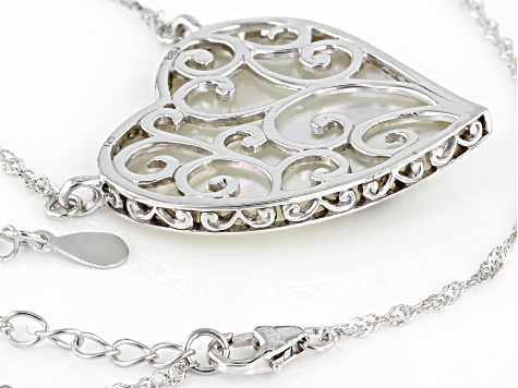 White Mother-Of-Pearl Rhodium Over Sterling Silver Necklace .50ctw