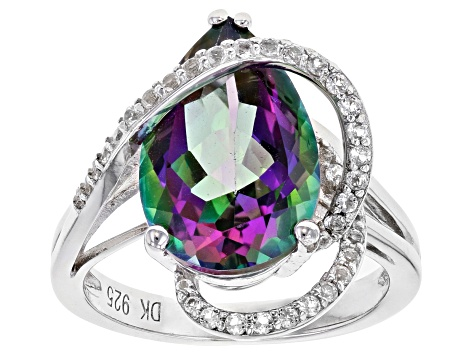 Mystic Fire (R) green topaz rhodium over silver ring 6.21ctw