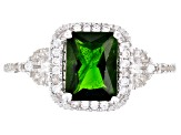 Green chrome diopside rhodium over sterling silver ring 1.88ctw