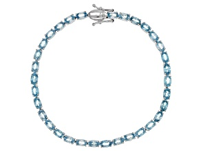 Blue Zircon Rhodium Over Sterling Silver Bracelet 13.00ctw