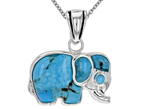 Blue turquoise rhodium over silver enhancer with chain