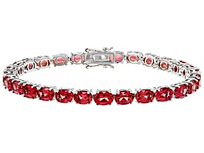 Pink Lab Created Padparadscha Sapphire Rhodium Over Sterling Silver Bracelet 19.69ctw