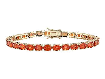 Picture of Orange Lab Created Padparadscha Sapphire 18k Gold Over Sterling Silver Bracelet 19.69ctw