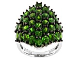 Green chrome diopside rhodium over sterling silver cluster ring 6.42ctw