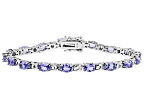 Blue Tanzanite Rhodium Over Sterling Silver Bracelet 5.86ctw