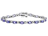 Blue Tanzanite Rhodium Over Silver Bracelet 5.86ctw