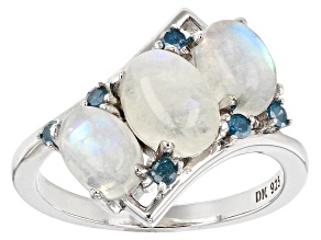White rainbow moonstone rhodium over silver ring .11ctw