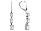 White rainbow moonstone rhodium over silver earrings .08ctw