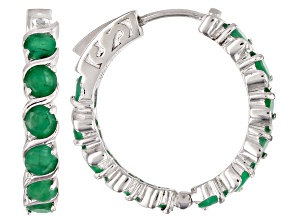 Green emerald rhodium over silver hoop earrings 5.50ctw