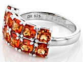 Orange lab created padparadscha sapphire rhodium over silver band ring 3.06ctw