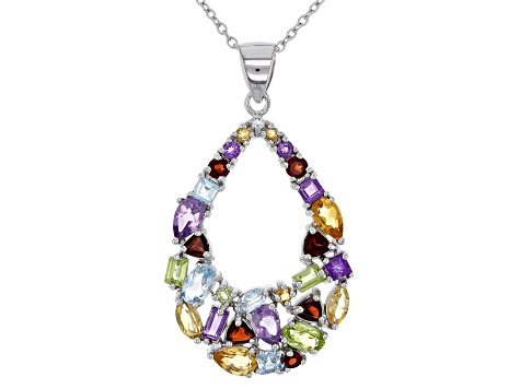 Multi-color Mixed-Gem silver pendant with chain 3.48ctw