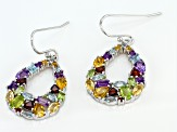 Multi-Color Mixed Gem Rhodium Over Silver Earrings 4.92ctw