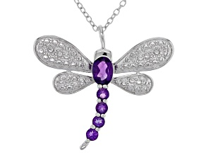 Purple amethyst sterling silver dragonfly pendant with chain .66ctw