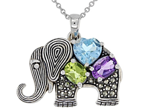 Sky Blue topaz sterling silver elephant pendant with chain 1.73ctw