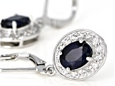 Blue sapphire rhodium over sterling silver dangle earrings 3.05ctw