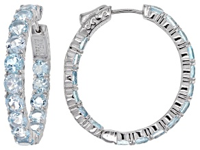 Sky Blue Topaz Rhodium Over Sterling Silver Hoop Earrings 10.04ctw
