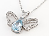 Sky Blue Topaz Rhodium Over Silver Butterfly Pendant With Chain 3.15ctw