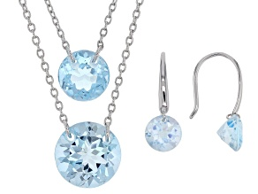 Sky Blue Topaz Rhodium Over Silver Two Necklaces & One Pair Earrings Set