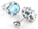 Blue Larimar Rhodium Over Sterling Silver Earrings 1.32ctw