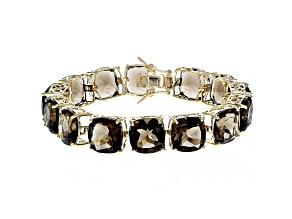 Brown smoky quartz 18k yellow gold over sterling silver bracelet 85.00ctw