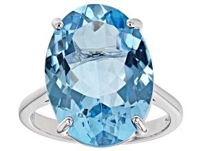 Blue Topaz Rhodium Over  Silver Ring 15.20ct