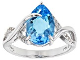 Blue Topaz Rhodium Over Sterling Silver Ring 3.70ctw
