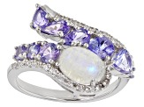 White Rainbow Moonstone Rhodium Over Sterling Silver Ring 1.51ctw
