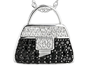 Black spinel rhodium over silver purse pendant with chain 2.42ctw