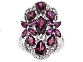 Purple raspberry color rhodolite rhodium over silver ring 5.33ctw