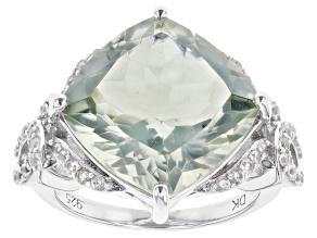 Green Prasiolite Rhodium Over Sterling Silver Ring 9.53ctw