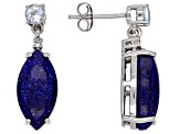 Blue Lapis Lazuli Rhodium Over Sterling Silver Earrings .54ctw