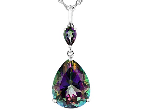 Mystic Fire(R) green topaz rhodium over silver pendant with chain 7.89ctw