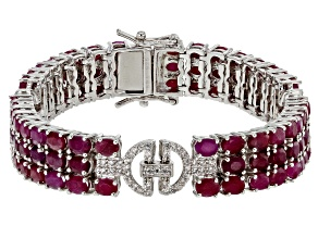 Red ruby rhodium over sterling silver bracelet 22.11ctw