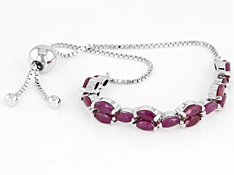 Red Ruby rhodium over silver bolo bracelet 5.52ctw