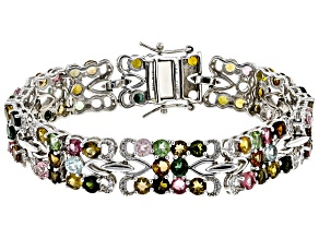 Multicolor tourmaline rhodium over silver bracelet 17.88ctw