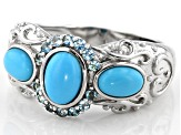 Blue Turquoise Rhodium Over Silver Ring .24ctw