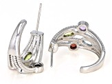 Mixed gemstone rhodium over silver earrings 1.54ctw