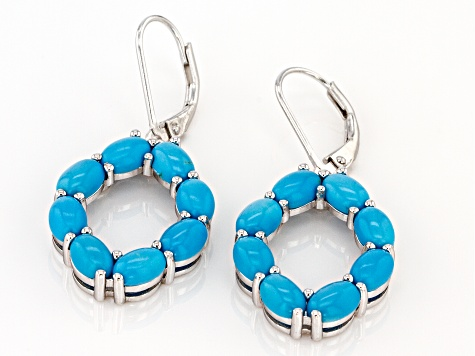 Turquoise Sleeping Beauty Rhodium Over Silver Earrings