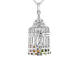 Multi-gemstone  rhodium over sterling silver birdcage pendant with chain 2.75ctw