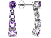 Purple Amethyst Rhodium Over Silver Earrings 4.00ctw