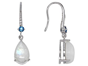 White Rainbow Moonstone Rhodium Over Silver Earrings .32ctw