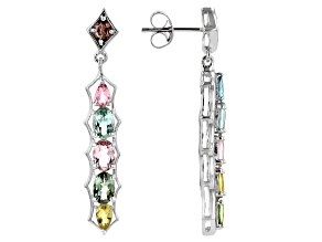 Multi-Tourmaline rhodium over silver earrings 3.27ctw