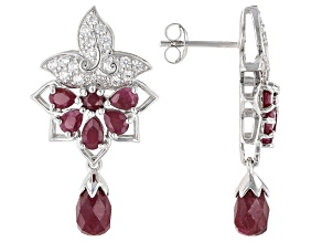 Red ruby rhodium over sterling silver earrings 5.61ctw