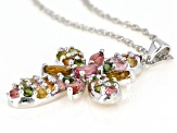Pink tourmaline rhodium over silver pendant with chain 2.63ctw