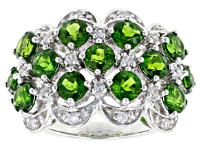 Green chrome diopside rhodium over sterling silver ring 3.25ctw