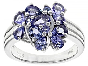Blue tanzanite rhodium over sterling silver ring 1.51ctw